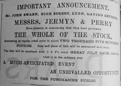 1892 Aug 6th Jermyn & Perry Swanns Stock 2