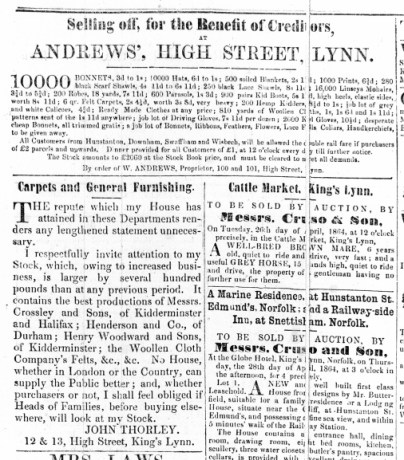 1864 April 23rd John Thorley carpets @ Nos 12 & 13