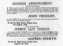 1872 Aug 10th John Thorley Alfred Jermyn
