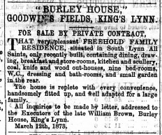 1873 March 22nd Burley House for sale