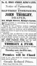 1854 July 22nd Thorley & Fysh partnership @ No 12