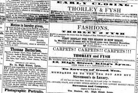 1856 Oct 11th Thorley & Fysh @ No 12