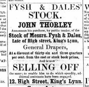 1861 April 27th John Thorley sells Fysh & Dales stock @ No 12