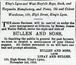 1882 9th December Bullen & Sons @ No 120