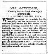 1877 January 6th Mrs Gowthorpe @ Nos 121 & 122
