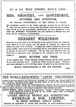 1893 October 28th Herbert Wilkinson @ Nos 121 & 122