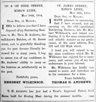 1904 May 20th T H Andrews takes over