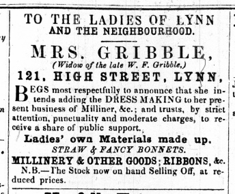 1861 July 20 Mrs Gribble @ No 121