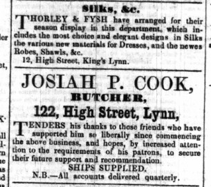 1855 Oct 13th Josiah Cook @ No 122