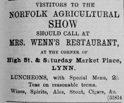 1892 June 25th Mrs Wenns lunches