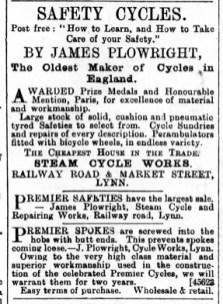 1891 May 30th James Plowright ex No 14 & 96