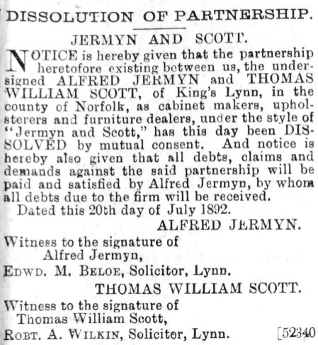 1892 Aug 6th Dissolution notice