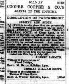 1892 July 30th Scott & Jermyn dissolution @ Nos 15 & 16