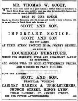 1892 July 30th Scott & Sons first ad @ Church Street