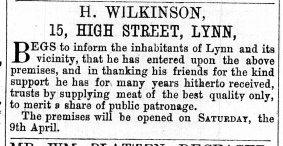 1860 query not1870 April 9th Henry Wilkinson opens @ No 15