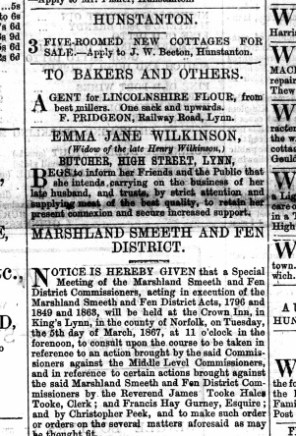 1866 Feb 23rd Emma Jane Wilkinson @ No 15