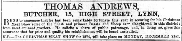 1874 December 12th Thomas Andrews @ No 15