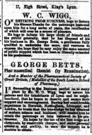 1883 26th May W C Wigg & George Betts @ No 17