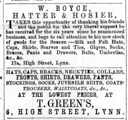 1870 May 14th W Boyce @ No 17a