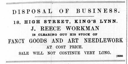1888 July 14th J Reece Workman selling up @ No 18