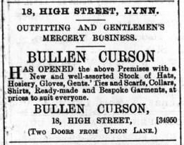 1889 May 18th Bullen Curson @ No 18