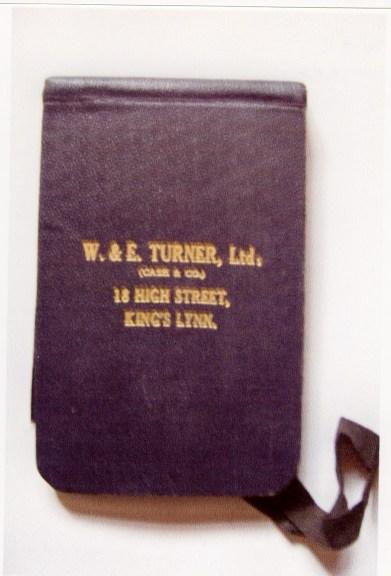 W & E Turner notebook (Rob Hall)