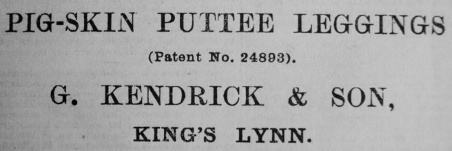 1900 Mar 23rd Kendrick Puttee legings