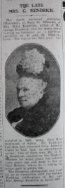 1929 Feb 22nd obit Mrs Kendrick 1