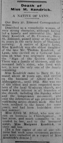 1929 Mar 1st obit Miss Mary Kendrick