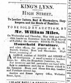 1864 May 21st Selling off G H Burrells stock @ No 21 & 22