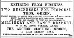 1888 July 21 Thomas Green sells up @ Nos 21 & 22 and 44