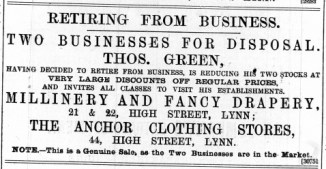 1888 July 21st Thos Green sells up @ Nos 21 & 22 and No 44