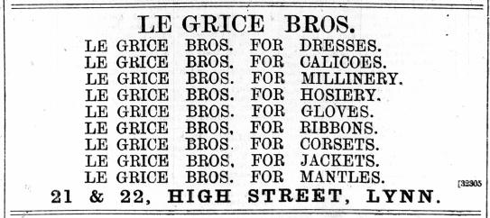 1888 October 6th Le Grice Bros @ Nos 21 & 22