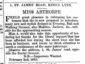 1865 28th Jan Miss Abthorpe leaves No 22