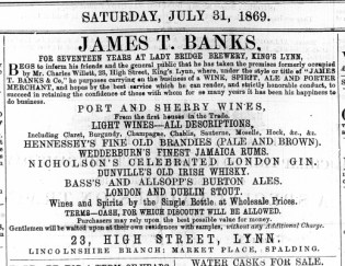 1869 July 31st James T Banks @ No 23
