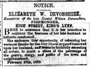 1873 March 1st Elizabeth Devonshire @ No 26
