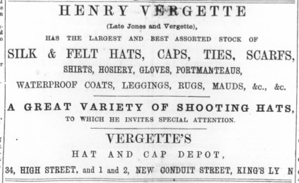 1874 August 29th Henry Vergette @ No 34