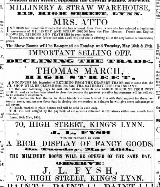 1859 may 14th Thomas March selling off @ Nos 36 & 37