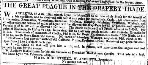 1866 Jan 6th W Andrews leaves for Downham Nos 36 & 37