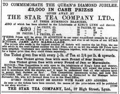 1897 April 30th Star Tea Co @ No 37