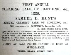 1889 Sept 21st Hunts first sale