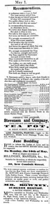 1858 May 1st Stevenson @ No 40