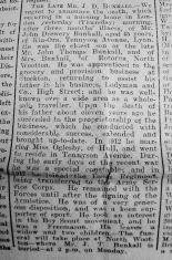 1921 Sept 23rd Ladymans J D Bunkall obit