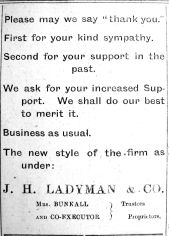 1921 Sept 30th Ladymans Mrs Bunkall takes over