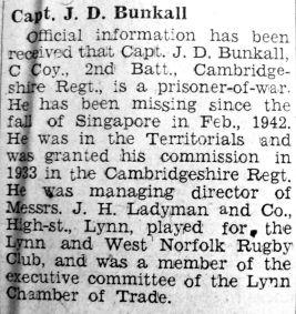 1943 Jan 29th Capt J D Bunkall PoW