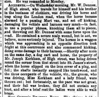 1871 March 4th Dennes & Kerkham accidents