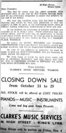 1949 Oct 21st Clarkes Music Services closing