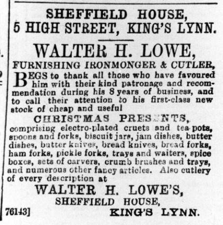 1896 Dec 18 Walter H Lowe @ No 5