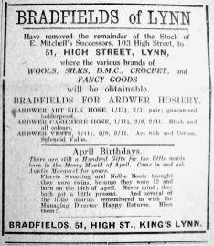 1924 Apr 18th Bradfields selling Mitchells stock