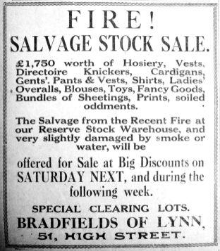 1927 June 10th Bradfields fire damaged stock